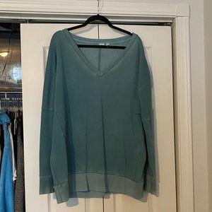 GAP teal burnout VNeck sweatshirt